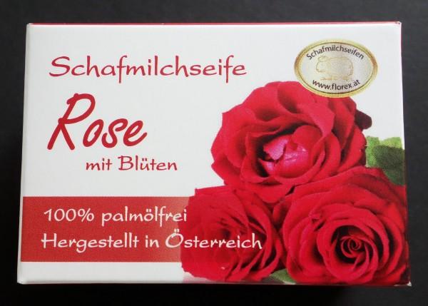 Palmölfreie Schafmilchseife Rose mit Blüten