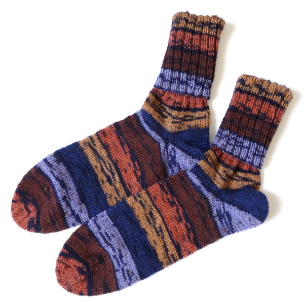 Damensocken marine-rost-orange